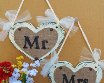 Reception wedding signs for the MR and MRS, cottage heart in vintage style, ivory or white