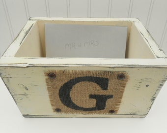 Wedding Card Box, Reception decor for Mr and Mrs cards, burlap wooden centerpiece