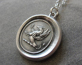 Griffin Wax Seal Necklace - Strength Courage Boldness - antique wax seal charm jewelry - gryphon with iron cross