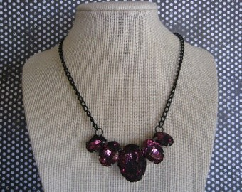 Black Lace over Pink Necklace