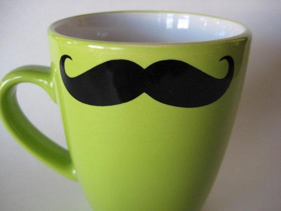 Mustache Mug Green
