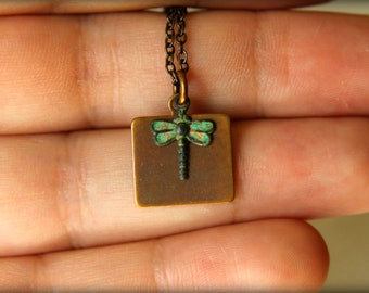 Verdigris Dragonfly & Brass Tag Necklace