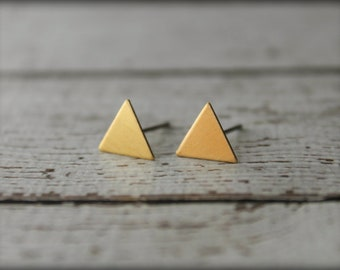 Smooth Triangle Earring Studs in Raw Brass or Silver Plated Brass, Stainless Steel Posts