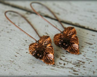 Copper Ivy Leaf & Czech Bellflower Earrings in Dark Bronze