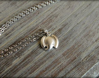 Tiny Elephant Head Necklace, Available in Matte Silver or Gold