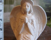 Stone textured, Angel candle holder, Praying Angel, Christmas decoration, Girl Angel, Ready to paint,Ceramic bisque, u-paint