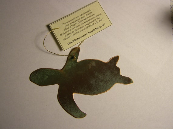 Sea Turtle Ornament - Handcrafted out of Old Copper