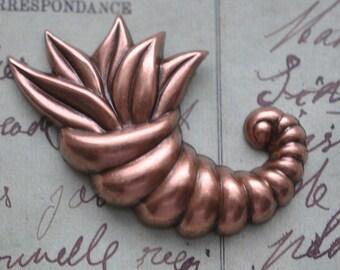Cornucopia brass stamping, oxidized copper