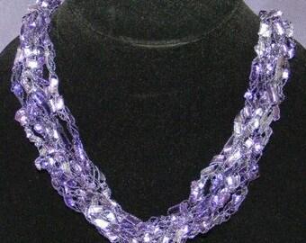 Purple Majesty Ladder Yarn Necklace