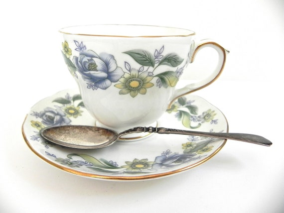 Vintage Duchess Rhapsody Fine China Teacup and Saucer... Tea Time... Blue and Yellow China
