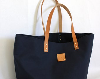 Canvas Tote... SPECIALIZED LABEL... Petite NAVY tote bag