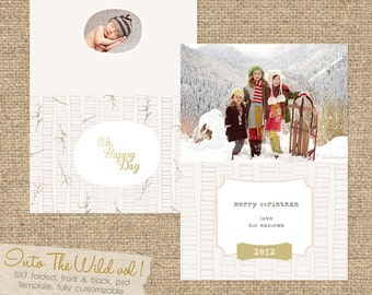 INSTANT DOWNLOAD Into The Wild vol 1 5x7 Christmas Folded Card Template