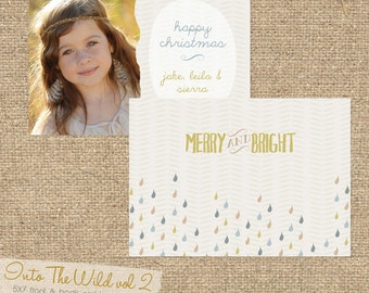 INSTANT DOWNLOAD Into The Wild vol 2 5x7 Custom Photo Christmas Card Template