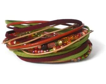 boho leather wrap bracelet, ribbon leather wrap, suede bracelet, red green wrap bracelet, rocker, triple wrap, autumn tones, gift for her