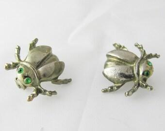 Vintage Silver ladybug beetle Scatter Pins Green Rhinestone Eyes Fashion fun