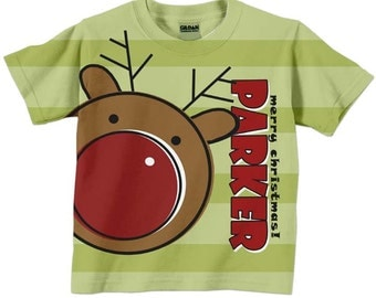 Christmas Shirt, Personalized Childrens Reindeer Tshirt, Holiday Clothing