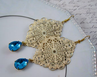 Aqua blue and gold statement earrings - sky blue jewels and gold filigree pendants on hooks