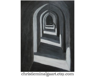 Fine Art Print Where the Light Falls 9x12 Modern, Contempory, Black, White, Grey Acrylic painting