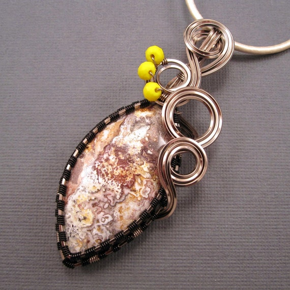 Wire Wrapped Pendant, Mexican Crazy Lace Agate Pendant with Yellow Glass Beads