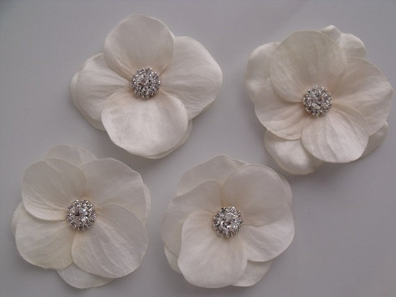 Hydrangea Petal Blossoms  - Light Ivory - Tropical Hair Flower Accessory - Rhinestone Center -  Bobby Pins or Alligator Clips