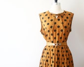 Vintage Mustard Dress Polka Dot Japanese Pleated Dress
