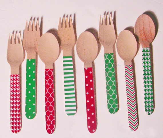 Christmas Multi Pattern Red and Green Forks, Spoons or Knives -  Set of 20