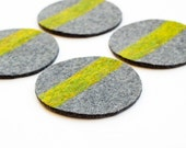 Felt Coasters, Industrial Felt, Gray and Green, Set of 4