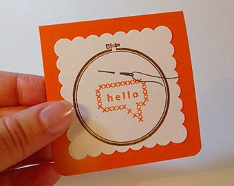 Mini cards with envelopes, set of 6, hello cards, hand stamped cards, cross stitch design, orange, note cards