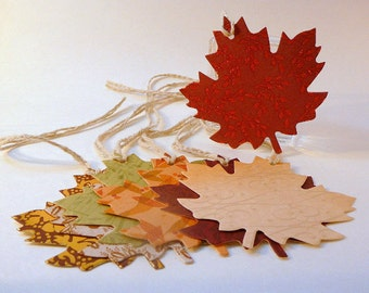 Thanksgiving Tags, set of 20, leaf shaped tags, thanksgiving decor, wedding wish tags, fall autumn colors, scrapbooking tags