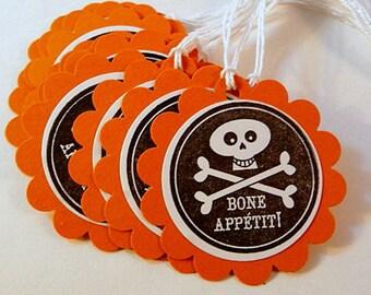 Halloween Tags, Bone Appetit, trick or treat tags, Halloween favor tags, skull & crossbones, orange black tags, handstamped tags