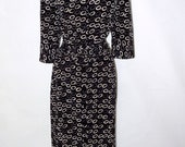 size 14 polyester belted dress by eiffel  black and white button front