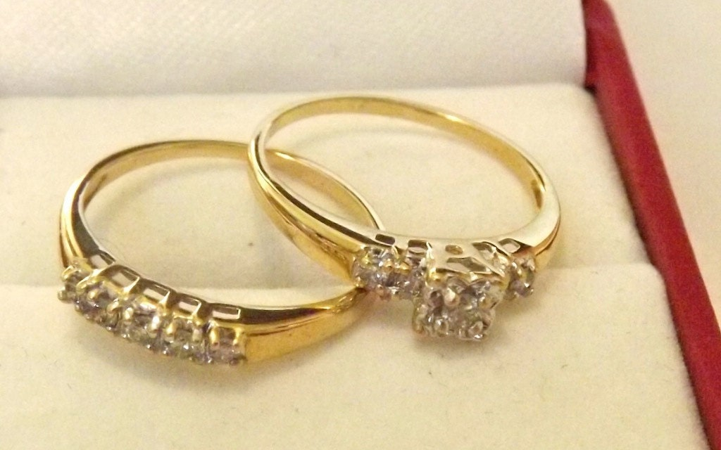 Vintage Diamond Engagement Wedding Ring Set 10K by EclairJewelry