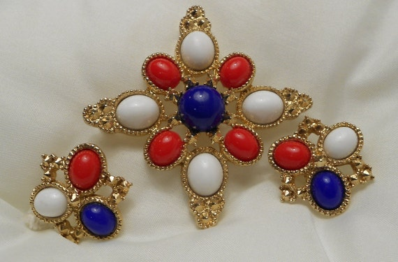 Vintage Americana Maltese Cross Brooch and Earrings Set by Sarah Coventry