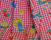Vintage Kitchen Fabric/Fruits on Gingham