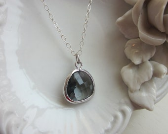 Charcoal Gray Necklace Sterling Silver Chain - Silver Plated Gem - Bridesmaid Necklace - Wedding Necklace
