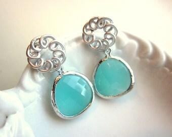 Aqua Blue Mint Earrings Silver Circle - Sterling Silver Posts Bridesmaid Earrings Bridal Earrings - Mint Wedding Jewelry Bridesmaid Jewelry