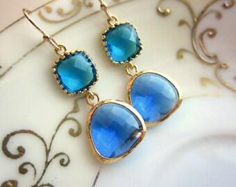Cobalt Blue Earrings Capri Blue Gold Two Tier Earrings - Bridesmaid Earrings Wedding Earrings Valentines Day Gift
