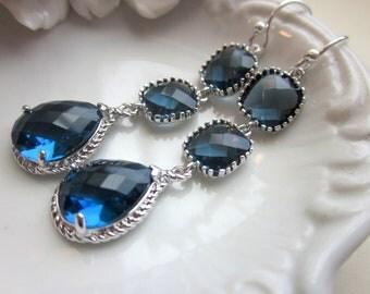 Sapphire Earrings Navy Blue Silver Plated Three Tier - Bridesmaid Earrings - Wedding Earrings - Bridal Earrings - Valentines Day Gift