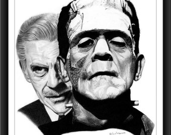Frankenstein's Monster - The Face Behind The Monster™ - Karloff - 8 x 10 Signed and Numbered Print - Original Graphite Portrait