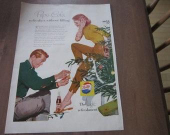 Vintage PEPSI COLA  soda advertisement Couple with xmas tree.  Enjoy