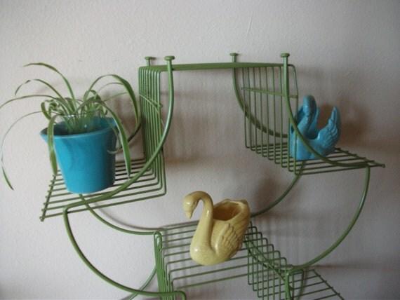 Mid Century Wire Shelf - Green Metal Bookshelf, Bathroom Decor, Vintage, Plant Stand