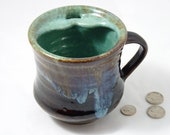 Commission for Stephanie- Extra Large Mug with Mustache Guard in robin's egg, glossy brown and iridescent blue glazes (rightie)