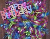 Deco Mesh HAPPY BIRTHDAY WREATH