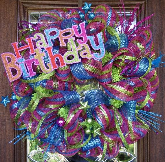 Items Similar To Deco Mesh Happy Birthday Wreath On Etsy