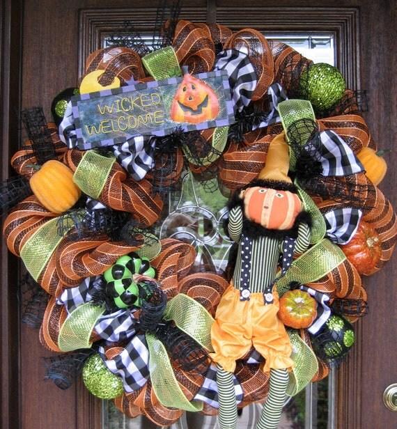 """30"""" Deco Mesh Halloween Wreath WICKED WELCOME with CUTE Pumpkin in Suspenders"""