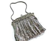 30% off WEEKEND SALE 1940s WHITING & Davis Silver Metal Mesh Evening Bag Clutch Handbag Purse Pocketbook Wedding Bridal Party 40s Fall Wint