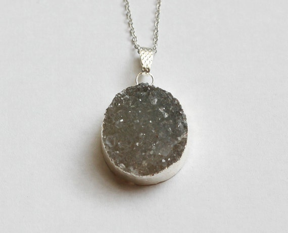 Green Quartz Druzy // Silver Plated // Crystal Necklace