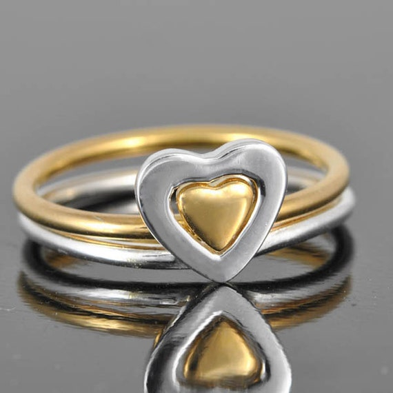 Heart ring, sterling silver stacking ring, forever ring, gold plated ring, double heart ring, heart in heart,