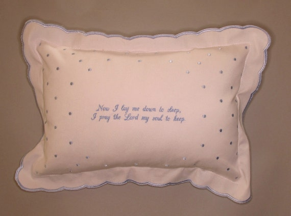 Embroidered Personalized Blue Scalloped Baby Pillow