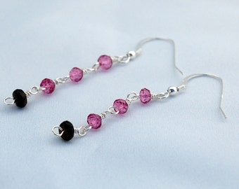 Tourmaline & Sterling Silver Dangle Earrings - Drop - October Birthstone - Gemstone - Pink and Green